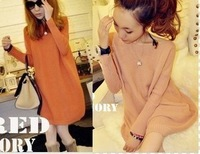 Needle slit neckline high quality knitting thick thin , long paragraph sweater