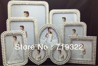 "3""+3""+4""+5""+6""+6""+7""+8""+10"" 9pcs/set Pearl diamond inlaid metal alloy photo frame wedding photo frame bridal gifts"