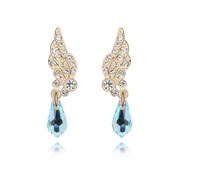 New Arrived  Spring Trendy Blue Crystal Wings of Angel  Drop Earrings For women Fashion Jewelry Wedding with  Gifts Box