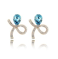 Spring Trendy Blue Crystal Bow Stud Earrings For women Fashion Jewelry Birthday with  Gifts Box