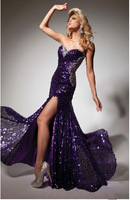 Fashion sexy Wholesale - hot sequins crystal purple mermaid gown PROM night