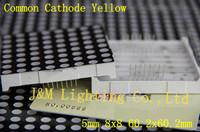 LED Display Dot Matrix Common Cathode Yellow 5mm 8x8 60.2x60.2mm PCB A Hot Sale Brand New 12 Pcs Per Lot free shipping