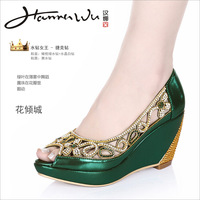 Hannawu hannah flower rhinestone open toe wedges single shoes women's shoes platform