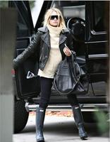 Free shipping !!! NEW Women's brand fashion casual O-collar sheepskin genuine leather Locomotive leather Coat Jacket / S-XXL