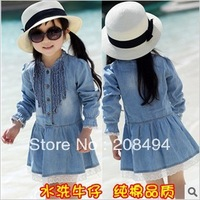 free shipping,5pcs/lot 2013 female children&#39;s clothing and fresh leisure cowboy cotton long sleeve dress