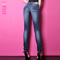 Cotton elastic water wash retro women's finishing pencil denim trousers slim