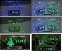 Multifunctional LED light message board time machine luminous clock with pen USB hub