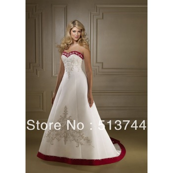 Free Shipping  High Quality   Red Wedding Dresses Beaded Embroidery See Layout Custom Any Color/Size