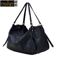 Leather women's handbag full sheepskin knitted fashion vintage cross-body bag big genuine leather travel nappy bag
