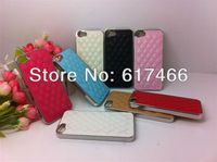 wholesale,10pcs/lot New Arrival New Luxury Chrome PU Leather Design Hard Back Skin Cover Case For iPhone 5 5G