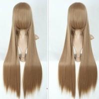 Rainbow cos wig sword implored shallow brown long straight hair