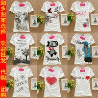 Hot sale! 2014 Fashion Good Quality Cotton T Shirt Women Tops Round short-sleeve T-shirts young girl school wear basic shirt