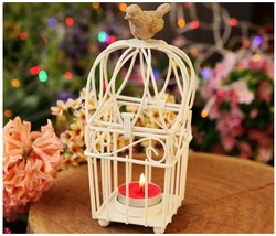 Wholesale Birdcage Classical White Wrought Iron Candelabra Nightingale Gifts Candle Holders For Wedding Home Decoration A009(China (Mainland))