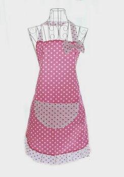 Ladies   Pink Polka Cotton  Kitchen cooking baking   Apron