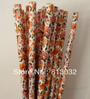 2013  new arrival!  flower shape paper straws wholesale, Free shipping,yellow, 500 pcs/lot