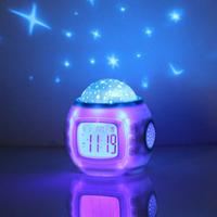 Music projection clock colorful cute dawdler mute alarm clock electronic clock lamp gift