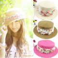 free shipping wholesale lady lace flowers short brim hat church dress bucket hat elegant straw cap