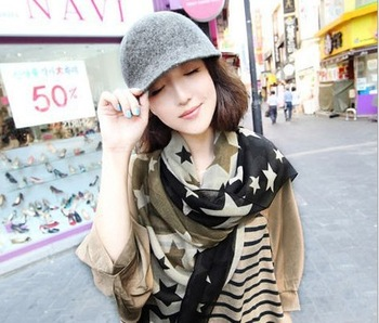2013 New design with Beatiful Stars Printing Chiffon silk scarf long size scarf lady scarf