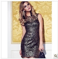 2013 newest K slim party embroidery dress, mlen noble sleeveless dress, excellent backless design, UK8-UK18, free shipping