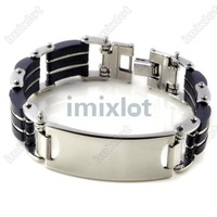 "3pcs/lot Fashion jewelry Free shipping 8.5"" Silver Link Stainless Steel Men Black Rubber Engravable ID Bracelet Wholesale"