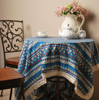 Free shipping 140x180cm rectangle table cloth  cotton linen geometric pattern refined Bohemian blue strip
