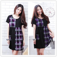 Free shipping Korean short-sleeved plaid Patchwork of large size women loose casual dress