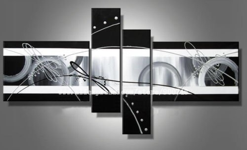 100% hand painted free shipping Black images city line High Abstract landscape Wall Decor Oil Painting on canvas 4pcs set(China (Mainland))
