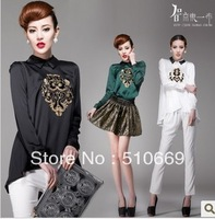 Free shipping 2013 New Style 30  Spring Lace Hollow Out White Blouses Shirts Women&#39;t Clothing