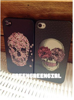 Free shipping!Cell phone case for iphone 4 4s/unique skull style/plastic fashion