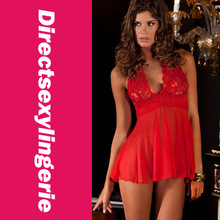 Stretch Red Chemise Merry Red Lace Mesh Babydoll LC2658+ Cheaper price + Free Shipping Cost + Fast Delivery(China (Mainland))