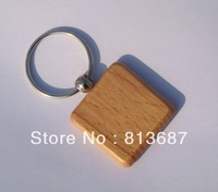 Wholesale 200pcs Square Blank Wooden Key Chains Promotion Carving Keyrings1.25''*1.25'' -DHL /Fedex Free Shipping