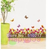 tulip flower wall stickers removable wall sticker bedroom corner waistline baseboard paste home improvement Furnishings