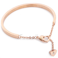 "4MM 2.3"" Women Rose Gold Tone Stainless Steel Link Heart Charm Cuff Bangle Bracelet KG61"