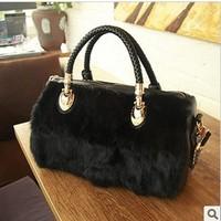 2014 New Promotion! Women's High Quality Rabbit Fur Shoulder Hand Bag/ Large Capacity Lady Totes JS-CR-001