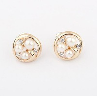 Min.order $10(mix) imitate pearl stud earring fashion jewelry wholesale rhinestone earrings for women 2013