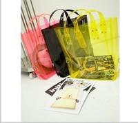 Hot hot ! Free shipping 2013 crystal waterproof  beach bag with zipper  female transparent bags ,shoulder beach bag  travel bag