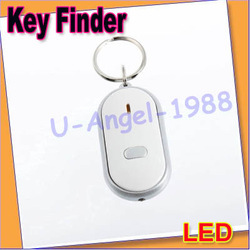 10pcs/lot LED Key Finder Locator Find Lost Keys Chain Keychain Whistle Sound Control+free shipping(China (Mainland))