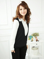 Free shipping 2014 big size women elegant lady temperament false two vest, long-sleeved shirt