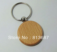 Wholesale 25pcs Circle  Blank Wooden Key Chains Promotion Carving Keyrings 2.25''*1.25'' -Free Shipping