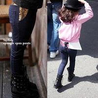 Jiabao autumn female child paillette faux denim legging female child trousers