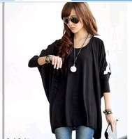 FREE  SHIPPING Spring new arrival women's shirt loose plus size batwing sleeve casual t-shirt black top
