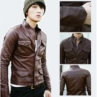 Hot Short design leathe r clothing pocket leather clothing Men short design male leather clothing slim outerwear