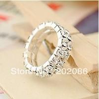 Retail sale 10pcs Cheap fashion two rows stretch rhinestone ring hotsale wedding ring free shipping