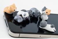 50pcs/lot,wholesale 3.5mm earphone Anti Dust Plug Stopper cute cat Dust proof plug For iPhone iPAD free shipping