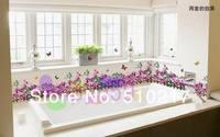 free ship purple flower vine wall stickers removable bedroom corner waistline baseboard paste TV wall wall sticker