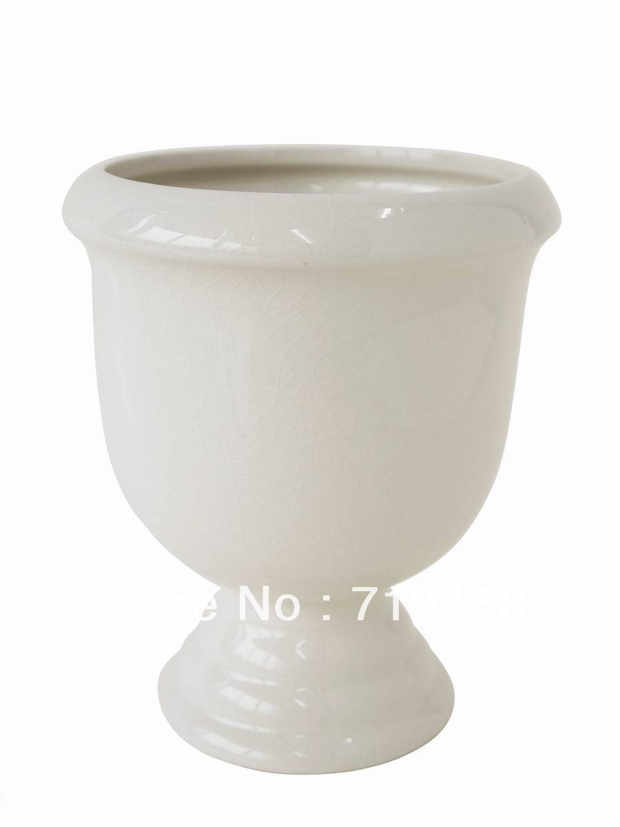 ROUND CERAMIC CREAM TOPIARY PLANTER(China (Mainland))