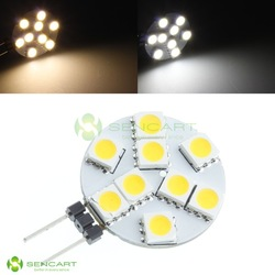 G4 9-SMD 5050 LED 1.8W DC 12V White lights / Warm White Spot light bulb lamp 10pcs/lot Free shipping(China (Mainland))