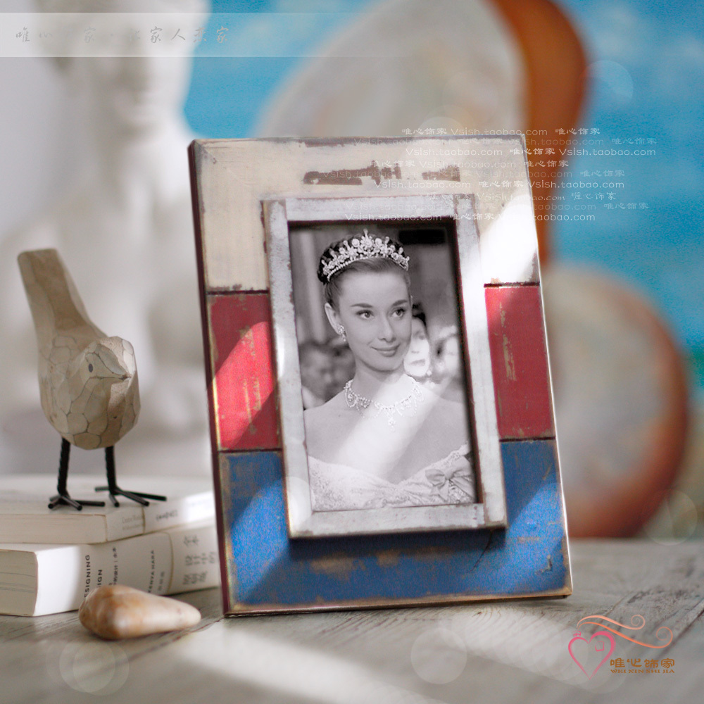photo frame wood handmade retro finishing natural finished--looks old years(China (Mainland))