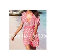 Design Women's  V Neck Dot  Mini Dress Puff Sleeve Bikini Overall Beachwear Swim Dress E0453#M4