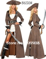 Free Shipping Halloween Women long sleeve  leather pirate corset/wear/dress/costumes,Dropshiping sexy costumes wholesale PA020